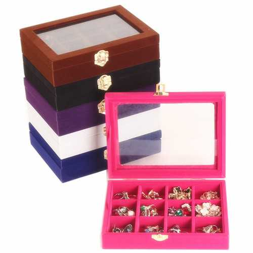 12 Grids Velvet Storage Organizer Jewelry Box Display