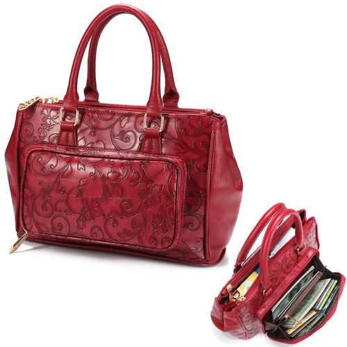 Brenice Women Embossed Handbag Floral Fashion Crossbody Bag