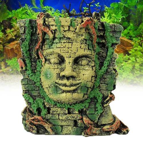 Ancient Roman Ruins Ornament for Aquarium Fish Tank Decoration Maya People Mask Hiding Hole
