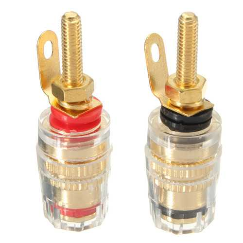 2Pcs Gold Plated Binding Post Amplifier Speaker Terminal Audio Connector For 4mm Banana Plugs