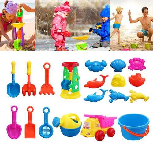 20Pcs/Set Summer Children Sandbeach Kits Vehicle Engineering Vehicle Set Beach Toys Outdoors Fun