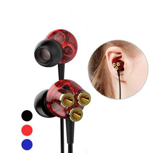 6 Dynamic Drivers 3.5mm Jack In-ear Wired Earphone Heavy Bass Stereo Headphone with Mic
