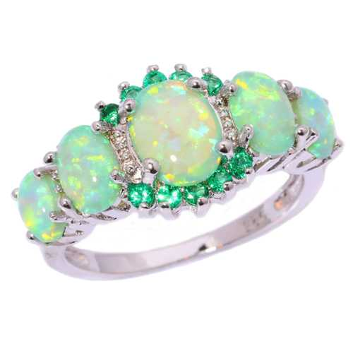 Green Fire Opal & Emerald Wedding Ring Women Jewelry Gems