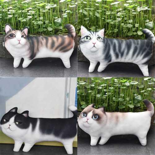 "10.6"" 3D Print Novelty Cat Kitty Shape Stuffed Plush Toy Cushion Adorable Funny Deco Design"