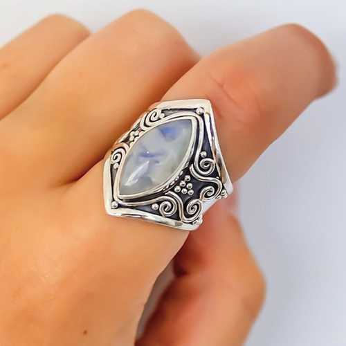 Ethnic Moonstone Finger Ring Vintage Finger Gift for Women