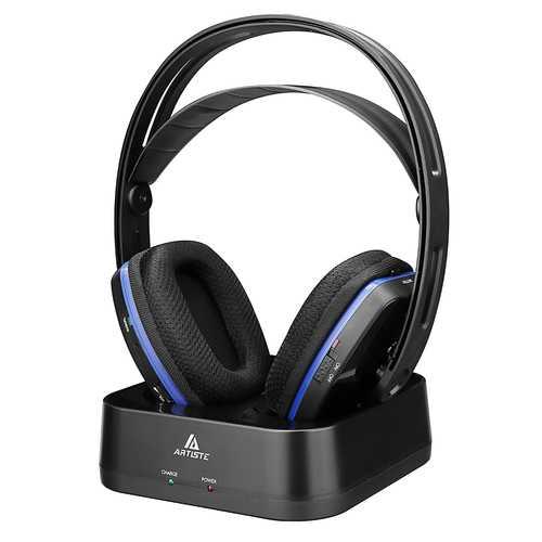 Artiste D2 2.4GHz HiFi Deep Bass Wireless TV Headphone with Transmitter Dock