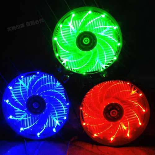 12V CPU Cooling Fan Blue Red Green LED Light Cooler Heatsink for PC