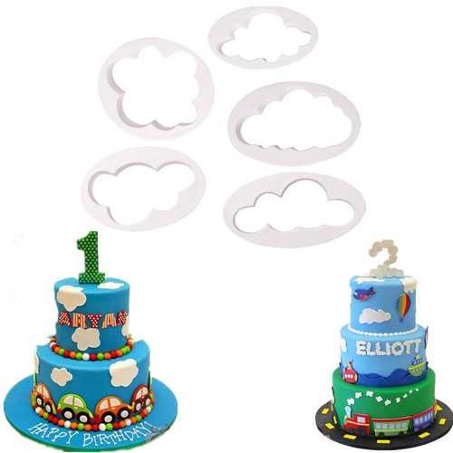 5pcs Fondant Cutter Cloud Plastic Cake Cookie Biscuit Cutter Fondant Cake Baking Mold Decorating Tools Sugarcraft