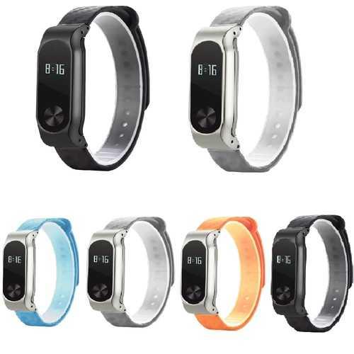 Bakeey Metal Carbon Fiber Replacement Wrist Strap Wristband Bracelet for Xiaomi Miband 2