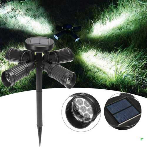 10W Solar Power 28 LED Four Heads Outdoor Yard Lawn Light Waterproof Stake Landscape Lamp