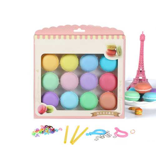 12pcs Macaron Crystal Slime Fluffy DIY Squishy Bubbles Anti-stress Kids Toy