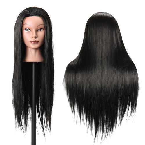 27Inch Black 30% Human Hair Hairdressing Training Head