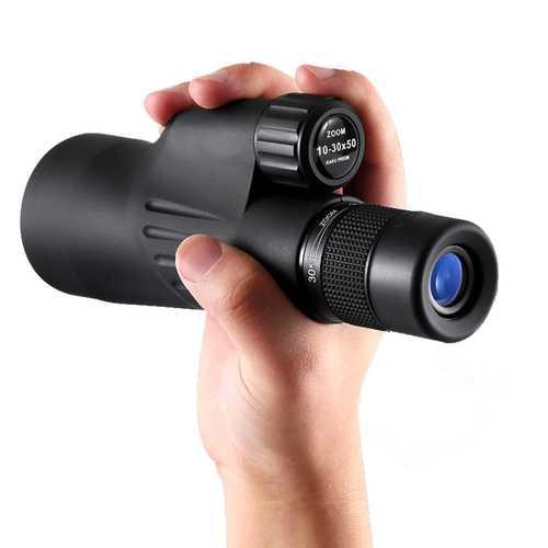 10-30×50 Monocular Telescope Adjustable BAK4 FMC Coated Handheld Bird Watching Smartphone