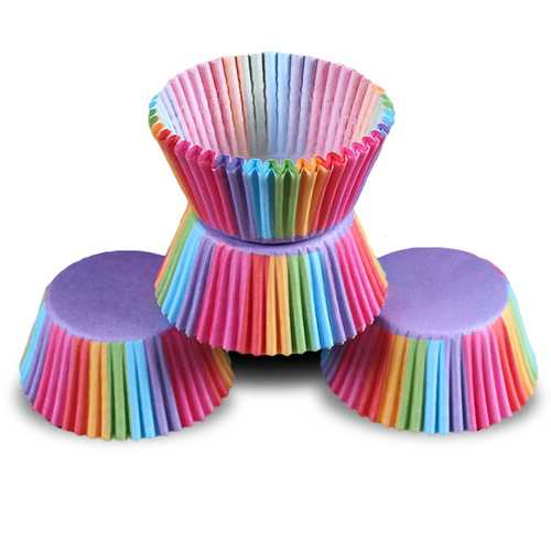 Honana Colorful Cupcake Paper Cake Liner Baking Muffin Box Cup Party Tray Cake Mold Decorating Tools Cupcake paper Thicken Baking Cups Muffin Cupcake Liners 100pcs Colorful Cupcake Liner Wedding Tool