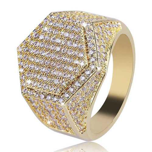 Gold Hip Hop Hexagon Finger Ring Micro Zircon Gemstone