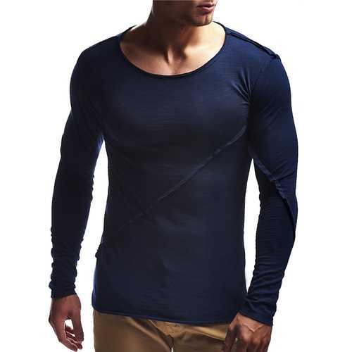 Leisure Cotton O-neck Patchwork Slim T-shirts for Men