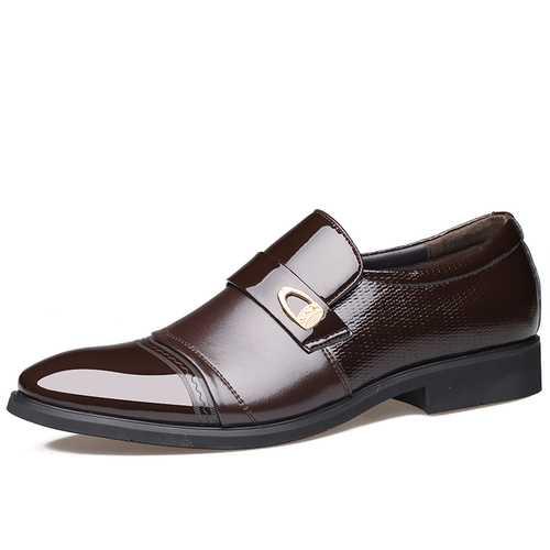 Men Comfy Leather Cap Toe Slip On Business Formal Shoes