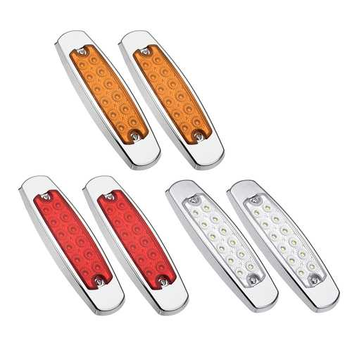 2PCS 12 LED Side Marker Clearance Light Sealed Flood Fish Shape for Truck Trailer RV 12-24V
