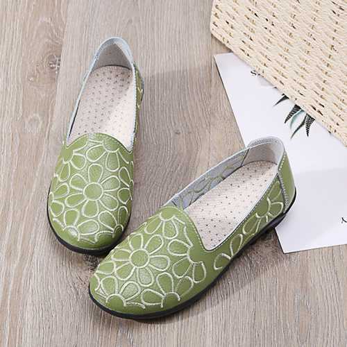 Casual Comfortable Leather Flowers Flats For Women