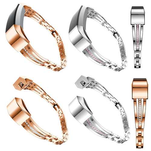 Stainless Steel Jewelry Watch Wristband Release Replacement For Fitbit Alta/HR