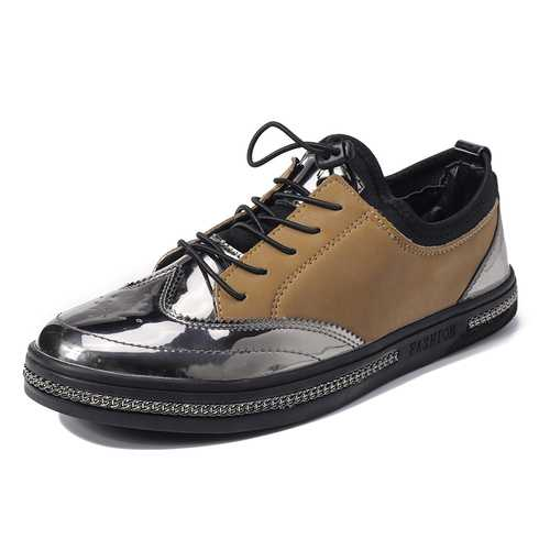 Men Casual Sneakers Microfiber Leather Lace Up Sneakers