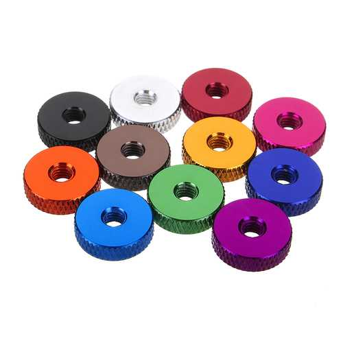 Suleve M4AN3 10Pcs M4 Manual Knurled Thumb Screw Nut Spacer Flat Washer Aluminum Alloy Multicolor