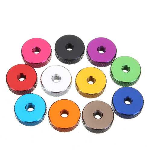 Suleve M3AN11 10Pcs M3 Manual Knurled Thumb Screw Nut Spacer Flat Washer Aluminum Alloy Multicolor