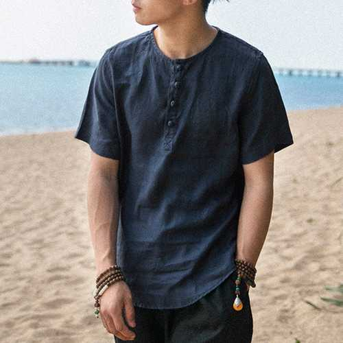 Chinese Style Mens Loose Crew Neck Casual T-shirts