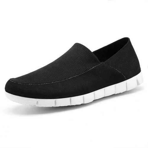 Men Breathable Mesh Cloth Soft Sole Slip On Flat Sneakers