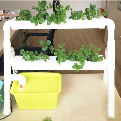 Mini 2 Layer 8 Sites Hydroponic System Kit Ebb & Flow Deep Water Culture DWC Grow Planting Vegetable