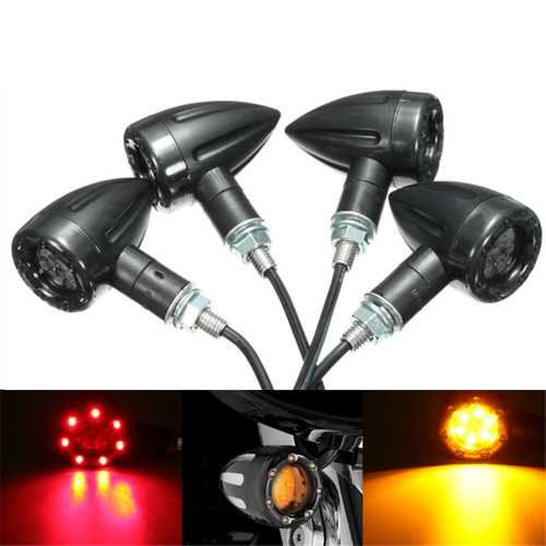 4X Universal LED Amber+Red Light Motorcycle Rear Turn Signal Brake Lights Running Lamp