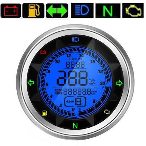 20000RPM Motorcycle Digital Speedometer Odometer Tachometer Trip Meter Gear 1-6