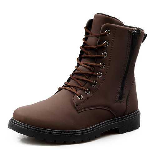 Men Comfy Side Zipper Microfiber Leather Mid Calf Boots