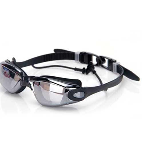 Men Outdoor Siamese Silicone Earplugs Plated Swimming Goggle