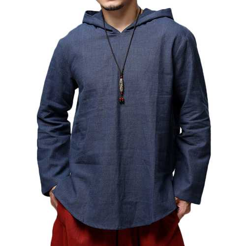 Men's Autumn Cotton Loose Fit Hooded Casual T-shirts