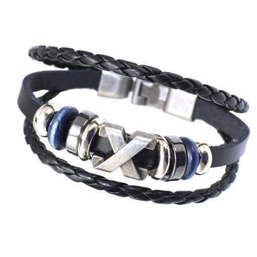 Ethnic Multilayer Leather Oval Beads Rope Bracelets For men