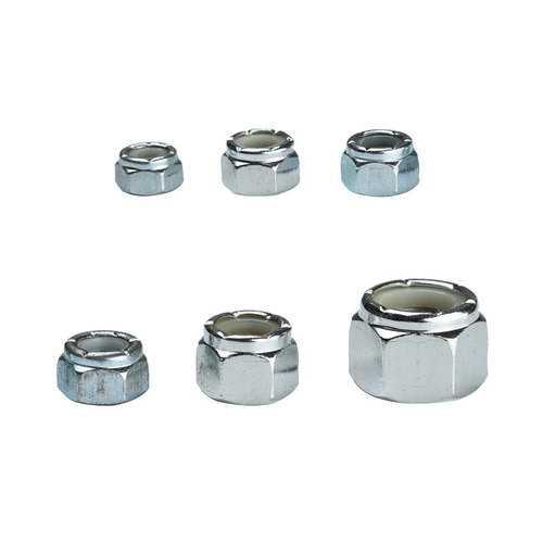 150Pcs 6-Sizes Zinc Plated SAE Nylon Insert Lock Nut Assortment Garden Tool Sets