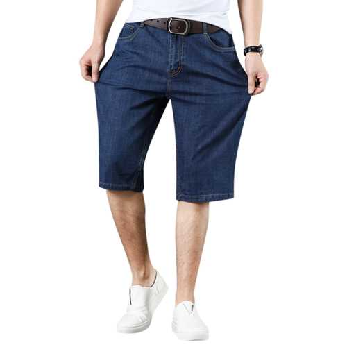Mens Cotton Loose Denim Shorts Big Size Mid Rise Casual Jean