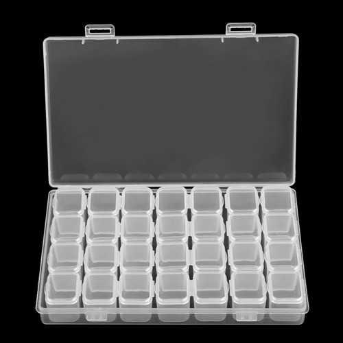 28 Slots Decoration Plastic Bead Organizer Jewelry Box