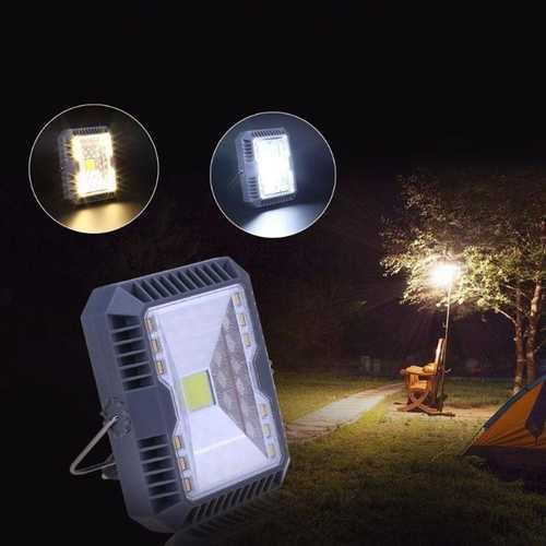 Waterproof Solar Flood Light Spotlight 3 Modes USB Rechargeable COB Work Camping Emergency Light