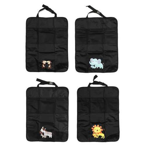 2PCS Oxford Car Interior Baby Anti-kick Pad Cover Protect Mat Seat Back Storage Bag