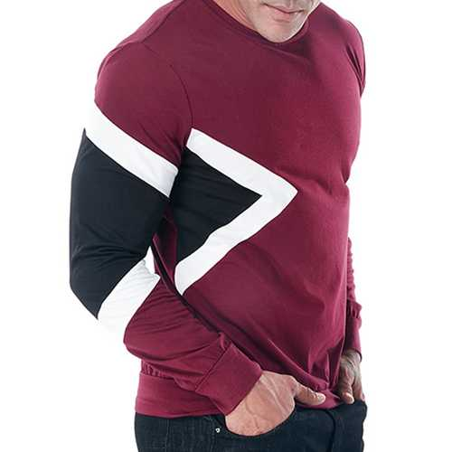 Cotton Three Colors Patchwork Casual T-shirts for Men