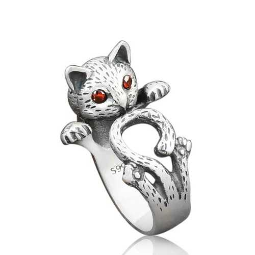 Ethnic Fortune Cat Finger Ring Cute Antique Silver Rings