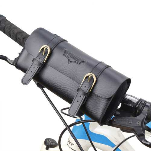 BIKIGHT Cycling Vintage Leather Bicycle Bike Bag Men Waist Bag for Xiaomi Mijia M365 Electric Scooter E-bike