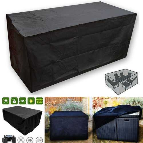 OxbridgeBlack Waterproof Rattan Cube Outdoor Garden Patio Furniture Table Set Cover Protection
