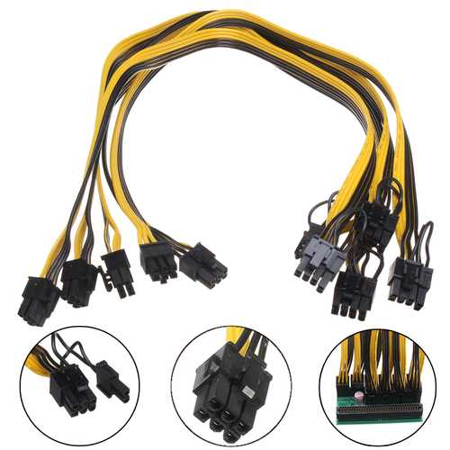 5Pcs 18AWG Graphics Line PCI-E 6pin Male To 8pin(6+2) Male Power Cable For Mining Breakout Board