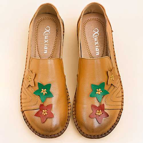 Casual Soft Star Flat Leather Loafers For Women