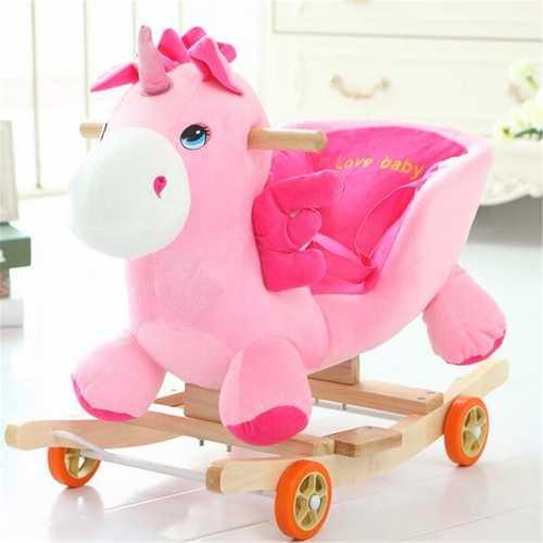 Baby Kid Toys 50*28*58CM Wooden Plush Rocking Horse Little Unicorn Style Riding Rocker