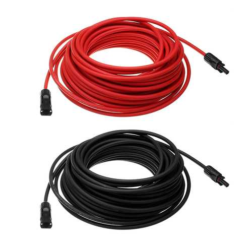 10 AWG 20 Meter Solar Panel Extension Cable Wire Black/Red with MC4 Connectors
