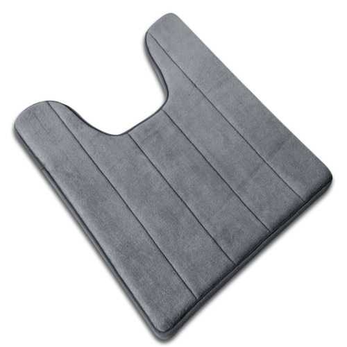 Coral Fleece Carpet Bathroom U-shaped Cotton Toilet Bathroom Carpet Mat Memory Foam Bath Mats Rug Anti-slip Floor Carpets Pad for Hotel Restroom Toilet Home Decor